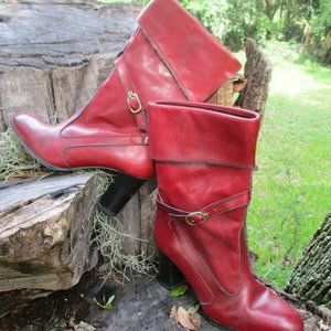 Vtg Etienne Aigner 9M Oxblood Leather Boots Cuff
